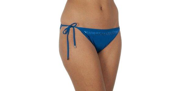 Dámské modré plavkové kalhotky s flitry Calvin Klein