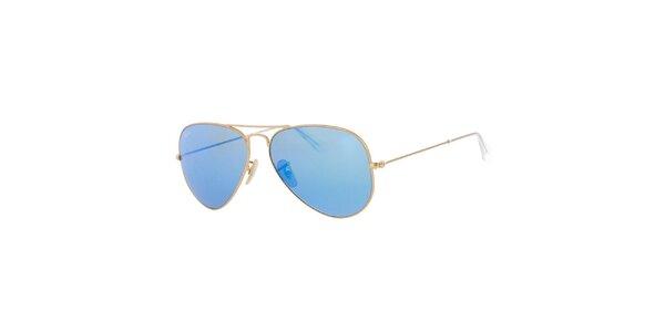 Zlaté pilotky s modrými skly Ray-Ban
