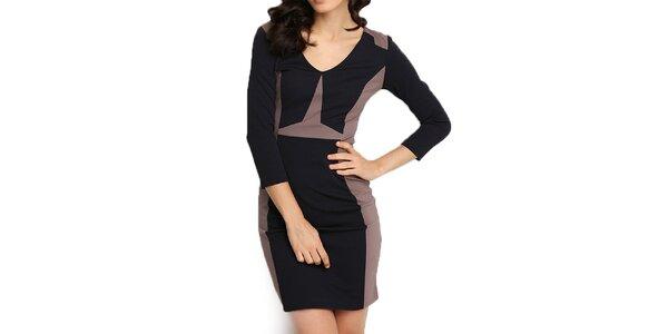 Dámské hnědo-černé pouzdrové šaty Fusion