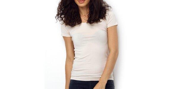 Dámské smetanově bílé tričko s oválným výstřihem Fusion