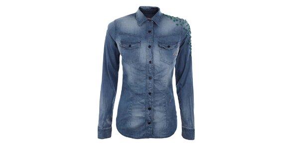 Dámská modrá košile se zelenými cvočky MET