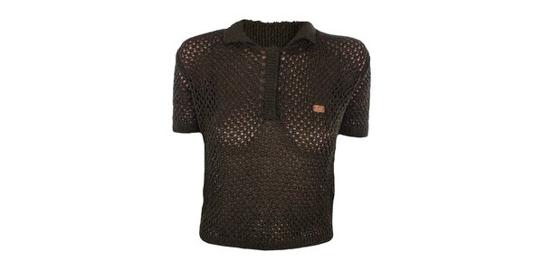Dámský khaki pletený svetřík do pasu Met