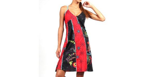 Dámské červeno-černé šaty s tyrkysovými ramínky Aller Simplement