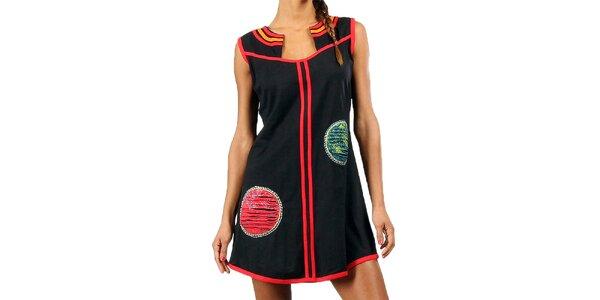 Dámské černé minišaty s červenými lemy Aller Simplement