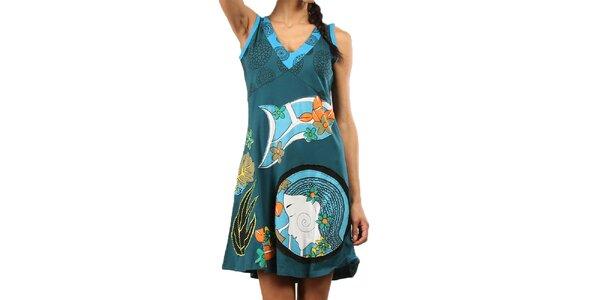 Dámské modrozelené šaty bez rukávů Aller Simplement