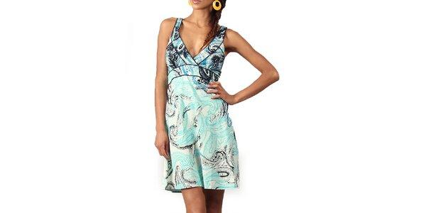 Dámské šaty s tyrkysovo-modrým potiskem Aller Simplement