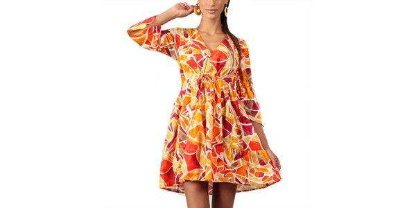 Dámské tunikové šaty s oranžovým potiskem Aller Simplement
