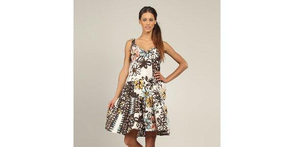 Dámské bílé šaty s květinovým potiskem Coline