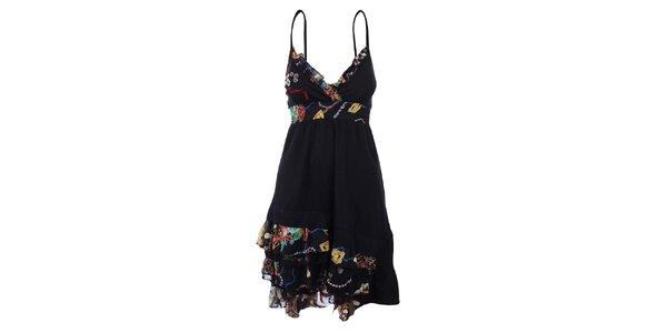 Dámské černé šaty se žabičkováním Dislay DY Design