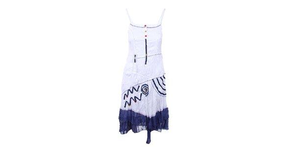 Dámské delší bílé šaty s modrými detaily Dislay DY Design