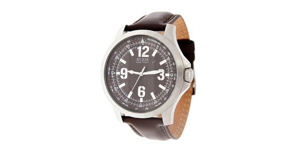 Pánské tmavě hnědé hodinky Guess s koženým páskem
