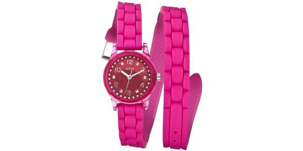 Dámské růžové náramkové hodinky Guess