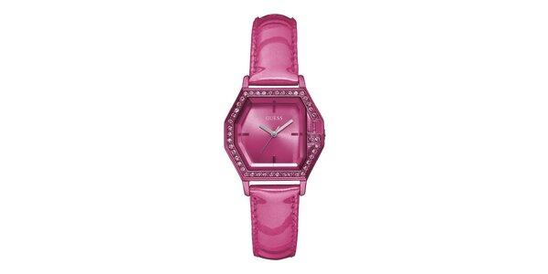 Dámské růžové náramkové hodinky s koženým páskem Guess