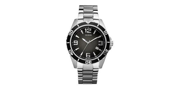 Pánské nerez hodinky s černým ciferníkem Guess