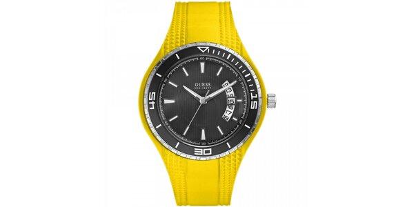 Pánské žluté náramkové hodinky Guess