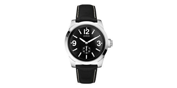 Pánské hodinky s černým koženým páskem Guess