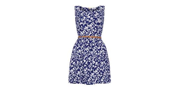 Dámské modré šaty s bílými motýlky Yumi