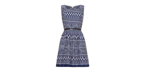 Dámské modré šaty s aztéckým vzorem Yumi