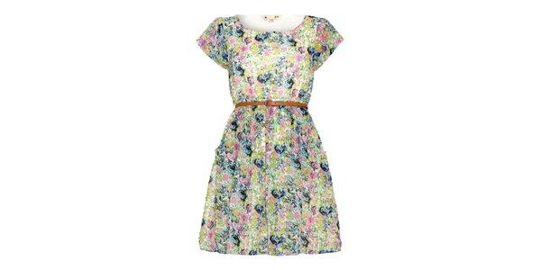 Dámské světlé šaty s květinami a páskem Yumi