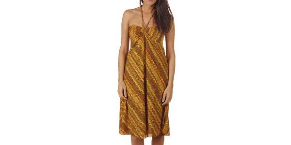 Dámské šaty v odstínech khaki a žluté Ada Gatti