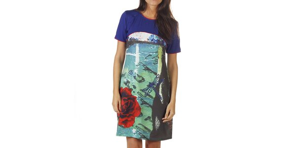 Dámské modré šaty s barevným potiskem Ada Gatti