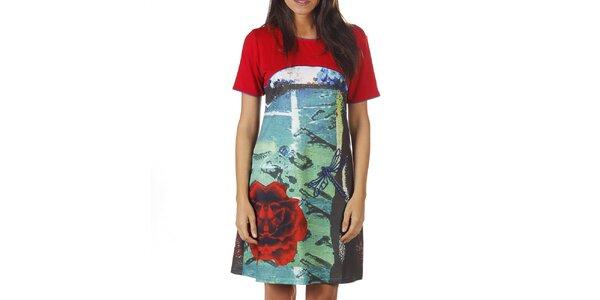 Dámské červené šaty s barevným potiskem Ada Gatti