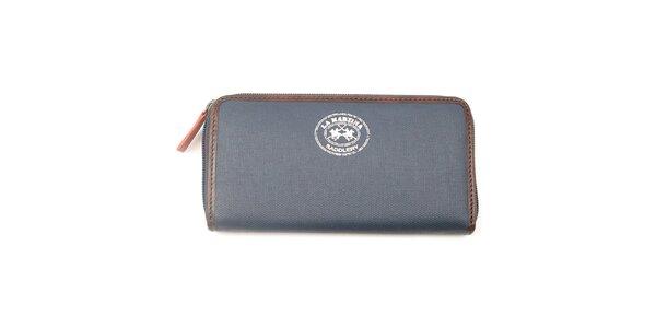 Dámská antracitová peněženka s hnědým lemem La Martina