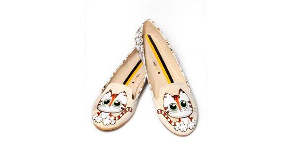 Dámské smetanové loafers s kočičkami The Bees