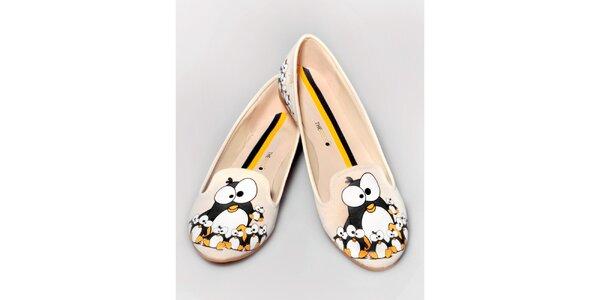Dámské smetanové loafers s tučňáky The Bees