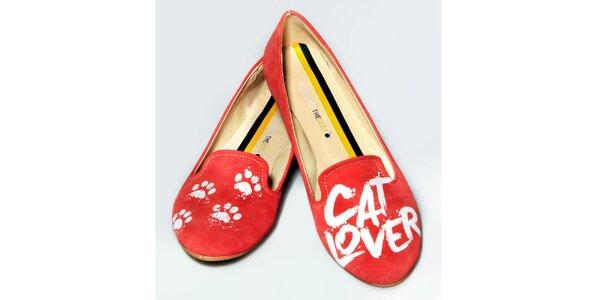 Dámské červené loafers s potiskem The Bees