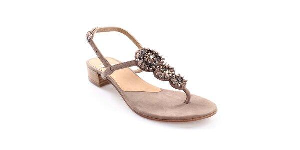 Dámské kožené sandály s ozdobou Coral Blue