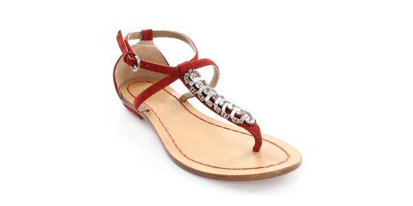 Dámské kožené červené sandály s dekorací Coral Blue