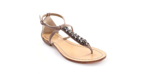 Dámské kožené sandály s dekorací Coral Blue