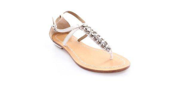 Dámské kožené bílé sandály s dekorací Coral Blue