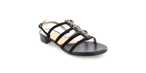 Dámské černé páskové sandály z kůže Coral Blue