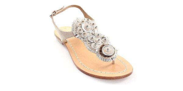 Dámské béžové kožené sandály Coral Blue