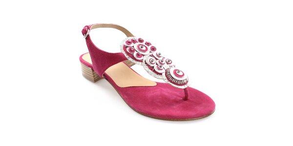 Dámské fuchsiové kožené sandály s dekorací Coral Blue