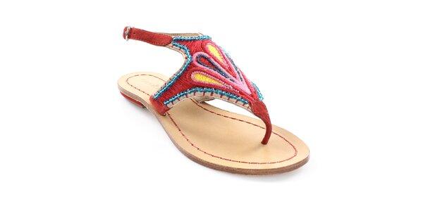 Dámské červené sandály s barevným vzorem Coral Blue