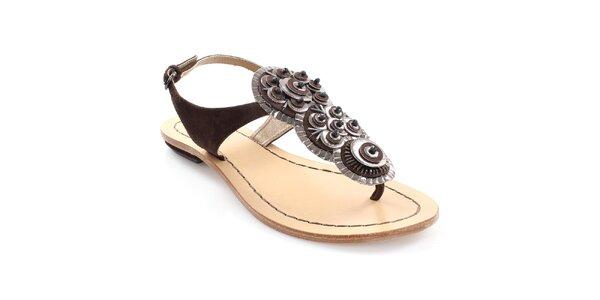 Dámské tmavě hnědé kožené sandály Coral Blue