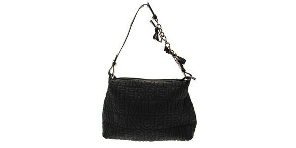 Černá kabelka s logem Ferré ze syntetické kůže