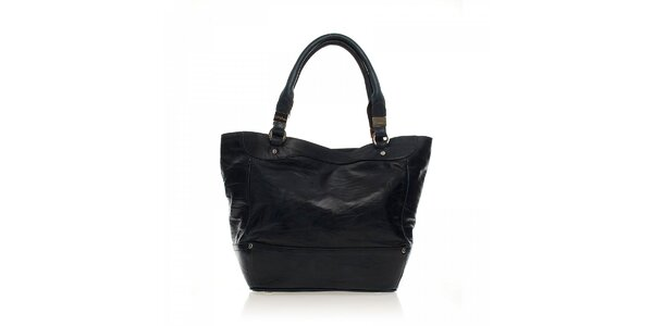 Černá kožená kabelka Ferré