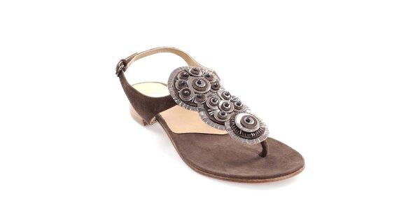 Dámské tmavě hnědé kožené sandály s dekorací Coral Blue