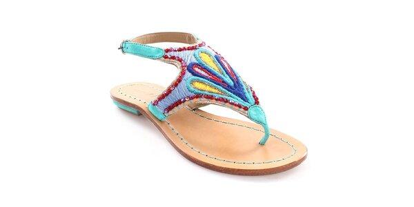 Dámské tyrkysové sandály s barevným vzorem Coral Blue