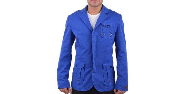 Pánské modré sako se třemi kapsami RNT23