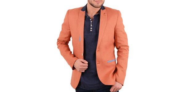 Pánské oranžové lněné sako s barevnými detaily RNT23