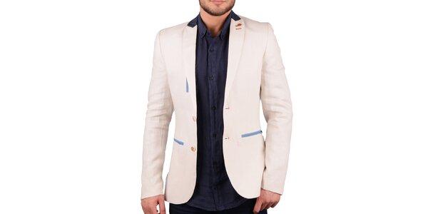 Pánské krémově bílé lněné sako s barevnými detaily RNT23