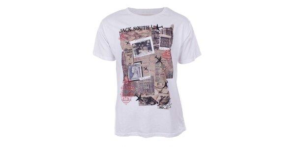 Pánské bílé tričko s potiskem a krátkým rukávem Big Star