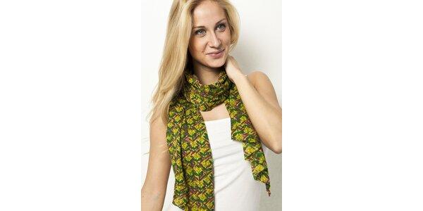Žlutý šátek s květinami Mahal