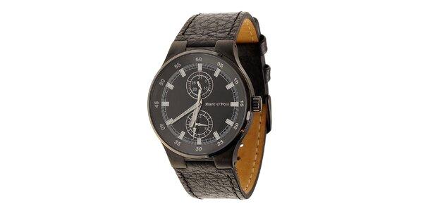 Černé ocelové hodinky Marc O´Polo s koženým řemínkem