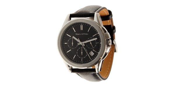 Pánské ocelové hodinky Marc O´Polo s černým koženým řemínkem